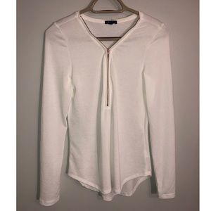 Tops - White blouse with rose gold zipper